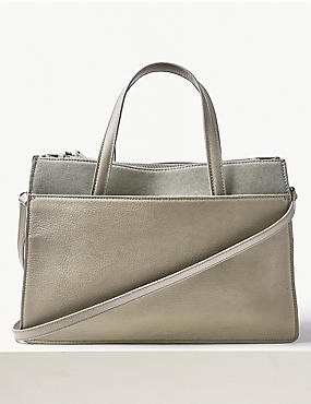 Leather Tote Bag, GREY, catlanding