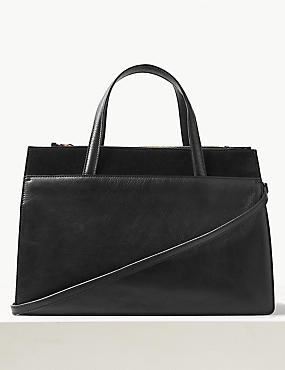 Leather Tote Bag, BLACK, catlanding
