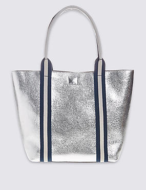 Faux Leather Sporty Tote Bag