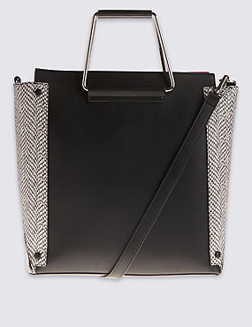 Faux Leather Metal Handle Tote Bag