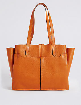 Leather 3 Part Compartment Tote Bag