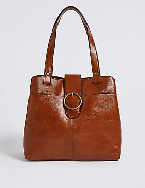Leather Round Buckle 3 Compartment Tote Bag