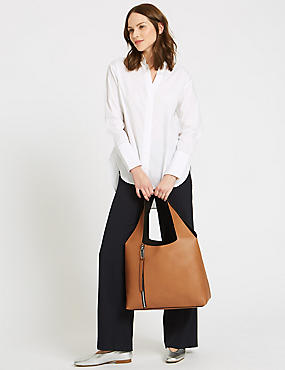 Faux Leather Hobo Bag, CAMEL, catlanding