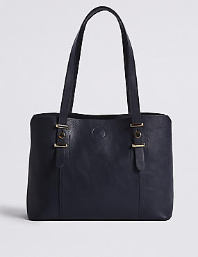 Faux Leather Soft Stud Grab Tote Bag