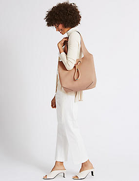 Faux Leather Toggle Shoulder Bag , NUDE, catlanding