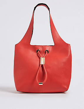 Faux Leather Toggle Shoulder Bag