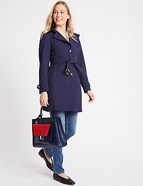 Faux Leather Tote Bag with Removable Clutch, NAVY MIX, catlanding