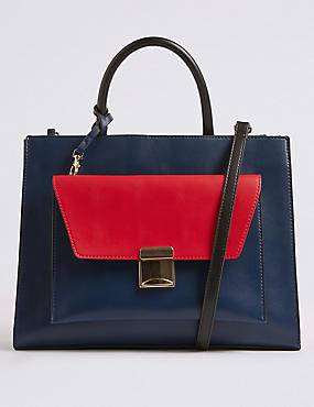 Faux Leather Tote Bag with Removable Clutch