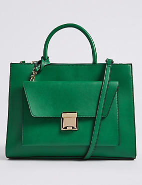 Faux Leather Tote Bag with Removable Clutch, GREEN, catlanding