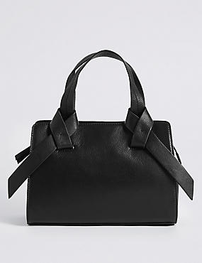 Leather Knot Detail Grab Tote Bag