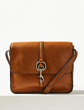 Leather Messenger Bag, TAN, catlanding