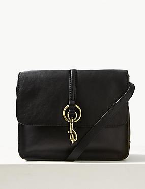 Leather Messenger Bag, BLACK, catlanding