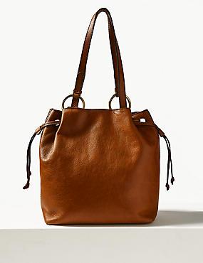 Leather Ring Tote Bag, TAN, catlanding