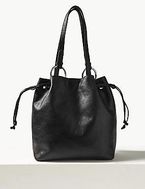 Leather Ring Tote Bag, BLACK, catlanding