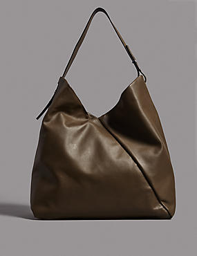 Leather Hobo Bag, OLIVE, catlanding