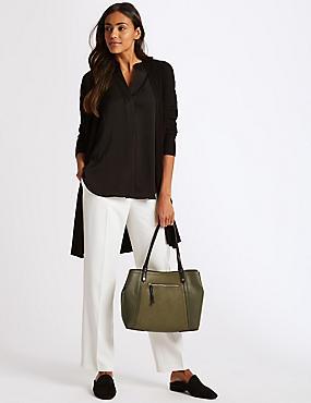 Faux Leather Colour Block Tote Bag, KHAKI MIX, catlanding