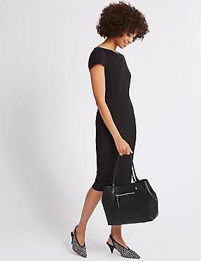 Faux Leather Colour Block Tote Bag, BLACK, catlanding