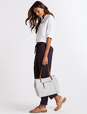 Faux Leather Colour Block Tote Bag, WHITE, catlanding
