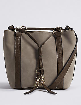 Faux Leather Drawstring Duffle Bag