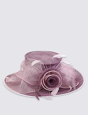 Big Rose & Mesh Wide Brim Hat, LILAC MIX, catlanding
