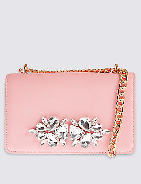 Faux Leather Embellished Shoulder Bag