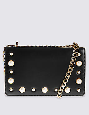 Faux Leather Pearl Shoulder Bag