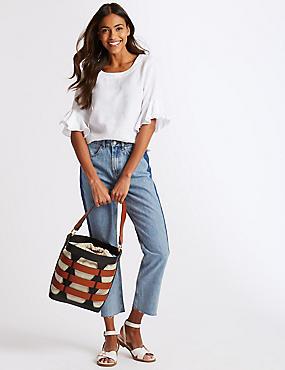 Faux Leather Woven Bucket Bag, , catlanding
