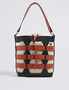 Faux Leather Woven Bucket Bag