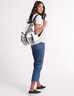 Pure Cotton Striped Backpack Bag , , catlanding