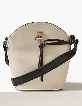 Faux Leather Tie Detail Shoulder Bag, CREAM, catlanding