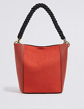Faux Leather Rope Handle Shoulder Bag