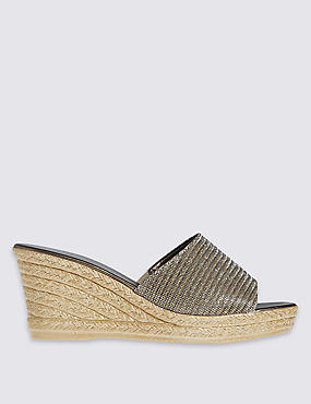 Wedge Heel Glitter Sandals