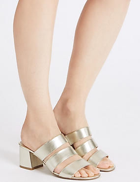 Block Heel Multi Strap Mule Sandals, GOLD, catlanding