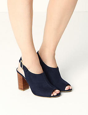High Front Block Heel Slingback Sandals, NAVY, catlanding