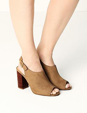 High Front Block Heel Slingback Sandals, SAND, catlanding