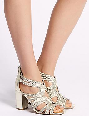 Block Heel Back Zip Sandals, GOLD, catlanding