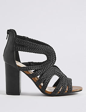 Block Heel Back Zip Sandals