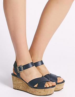 Wedge Heel Crossover Sandals, NAVY, catlanding