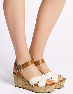 Wedge Heel Crossover Sandals, TAN, catlanding
