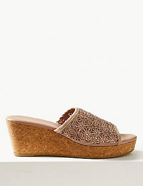 Wedge Heel Slip-on Sparkle Mule Sandals