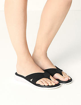 Toe Thong Sandals, BLACK, catlanding