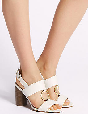 Block Heel Two Band Ring Sandals, WHITE, catlanding