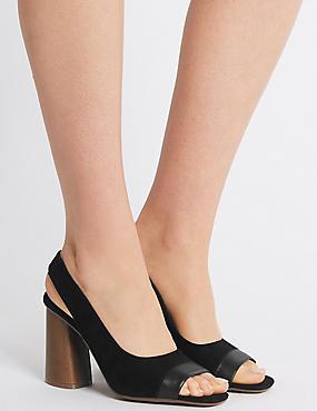 Peep Toe Slingback Sandals, BLACK, catlanding