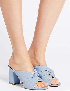 Block Heel Knot Mule Sandals, BLUE, catlanding