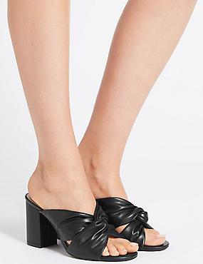 Block Heel Knot Mule Sandals, BLACK, catlanding
