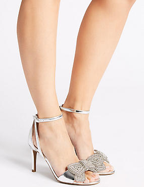 Stiletto Heel Jewelled Bow Sandals, SILVER, catlanding