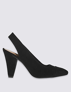 Angular Heel Slingback Court Shoes