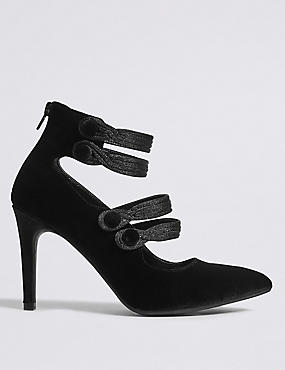 Stiletto Back Zip Court Shoes