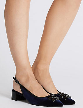 Block Heel Jewel Slingback Court Shoes