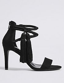 Stiletto Heel Back Zip Tassel Sandals